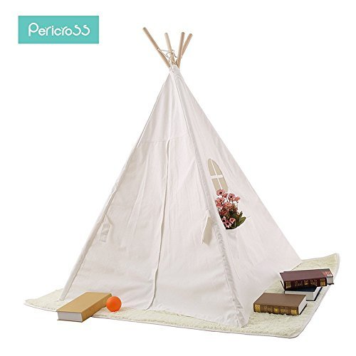 Pericross 4 Panel Teepee Cotton Canvas Play Tent Connected Bottom (Solid White)