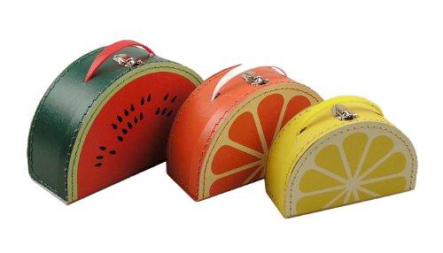 - kidSTYLE cargo Vintage Travelers Mini Suitcases, Set of 3, Mixed Fruit Print Watermelon/Orange/Lemon