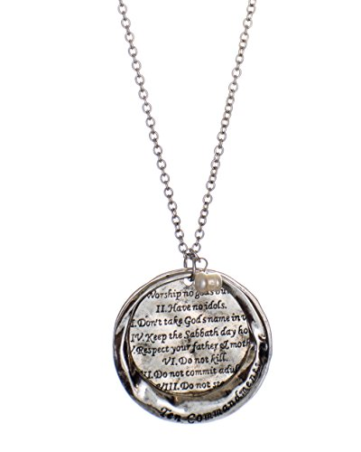 The Ten Commandments Stamped Round Hammered Disc Pendant Necklace, (Textured Disc Necklace)