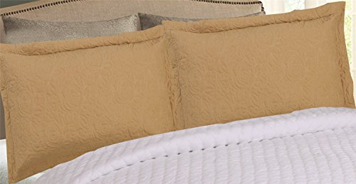 MarCielo 2-Piece Embroidered Pillow Shams, Decorative Microfiber Pillow Shams Set Standard Size, Gold
