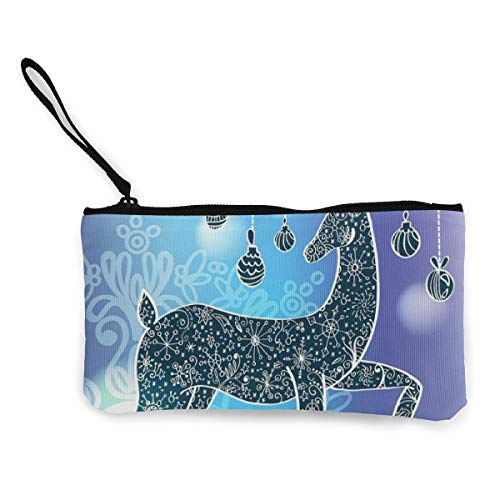 YUANSHAN Line Deer Unisex Canvas Coin Purse Change Cash Bag Zipper Small Purse Wallets with -