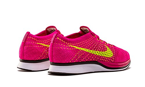 Nike Flyknit Racer Zapatillas de deporte, Unisex adultos Verde / Rosa (Fireberry / Volt-Pink Flash)