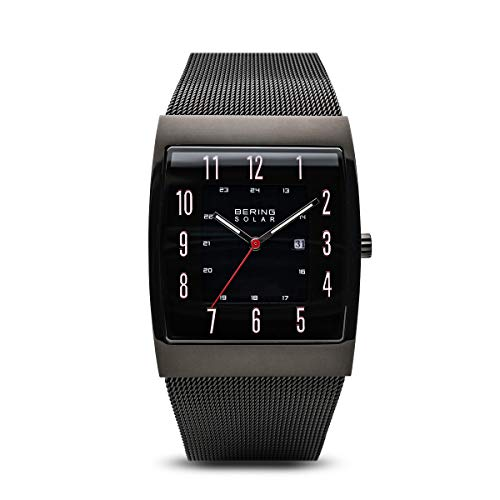 BERING Time 16433-122 Solar Collection Slim Watch with Mesh Strap and Scratch Resistant Sapphire Crystal. Designed in Denmark.