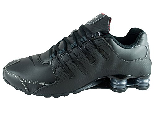 Zapatos corrientes de cuero Shox NZ Black/Varsity Red/White