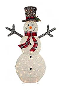 "CN & CS 48"" 3D White Glittered Snowman with 50L Indoor/outdoor clear lights - Christmas home & Yard art decoration"