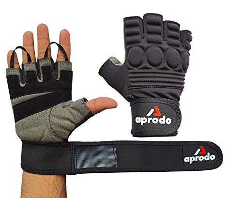 APRODO Sports Leather Fitness Gloves Gym Workout Gloves with Wrist Support & Padded Knuckle Protector (Pack of 1 Pair) Price & Reviews
