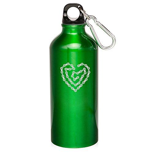 Green Heart Love Bike Chain 20Oz Aluminum Sports Water Bottle Canteen Clip Heart Love Bike Chain by Sport bottle