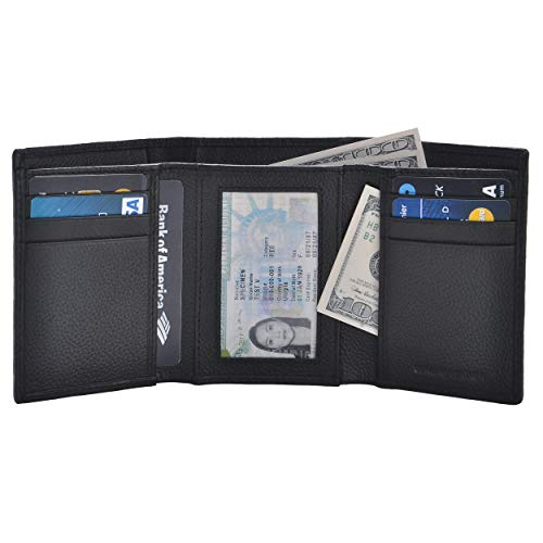 RFID Leather Trifold Wallets for Men - Handmade Slim Mens Wallet 6 Credit Card ID Window and Gift Box Secure by Estalon (3.5x4.4x0.75, Black Pebble -