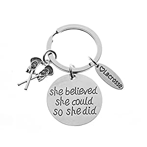 Infinity Collection Girls Lacrosse Keychain- Women's Lacrosse She Believed She Could So She Did Jewelry - Perfect Gift For Lacrosse Players