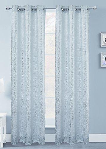 Foil Panel - Dainty Home Artistic Foil Printed Blackout Window Panel Pair, 76''W x 63''L, White, 2 Piece