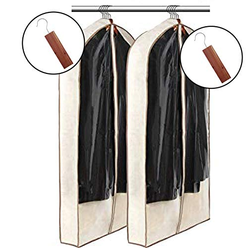 Large Garment Bag and Suit Travel Bag w/ Cedar Block Protector - Save Your Expensive Suits and Dresses from Dust and Moths with Lightweight Gown Length Garment Bags - Travel Moth Resistant