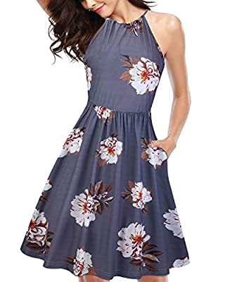 KILIG Women's Halter Neck Floral Summer Dress Casual Sundress with Pockets