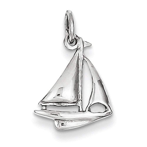 14k White Gold Solid Polished 3-D Sailboat Polished Charm Pendant 19mmx12mm