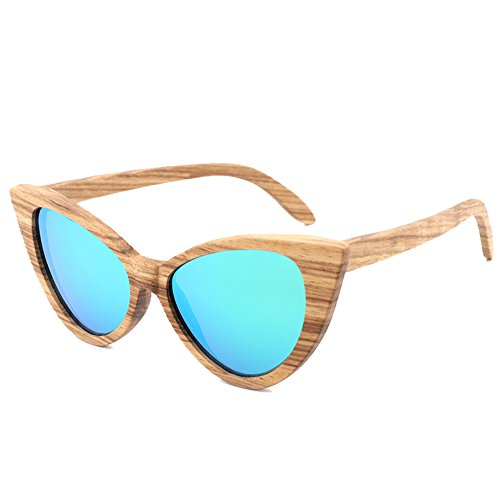 SYIWONG Bamboo Wood Polarized Cat Eye Sunglasses For Mens Womens Wayfarer - Ray Wayfarer Band