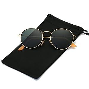 LKEYE Small Unisex Classic Vintage Round Mirror Lens Polarized Sunglasses LK1702 Gold Frame/Dark green Lens