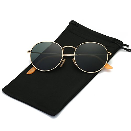 LKEYE Small Unisex Classic Vintage Round Mirror Lens Polarized Sunglasses LK1702 Gold Frame/Dark green - Faces Round