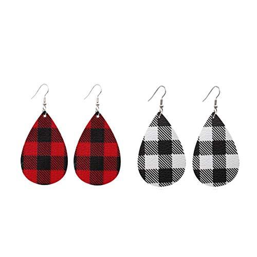 ZZ ZINFANDEL 2-4 Pairs Buffalo Plaid Leather Earrings,Lightweight Handmade Leather Teardrop Leaf Rainbow Pattern Earrings for Women Girls (A:2 PCS)