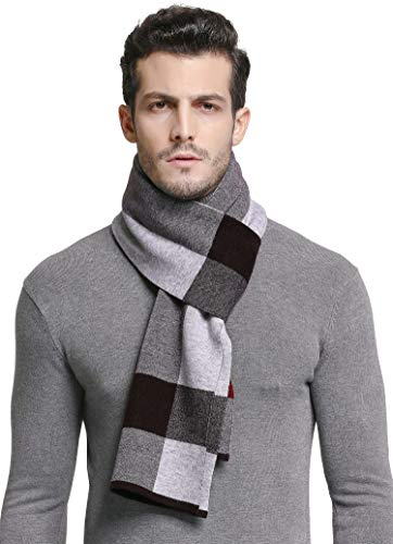RIONA Men's 100% Australian Merino Wool Scarf Knitted Soft Warm Neckwear Striped Long Scarves with Gift Box (9138_Purple) ()