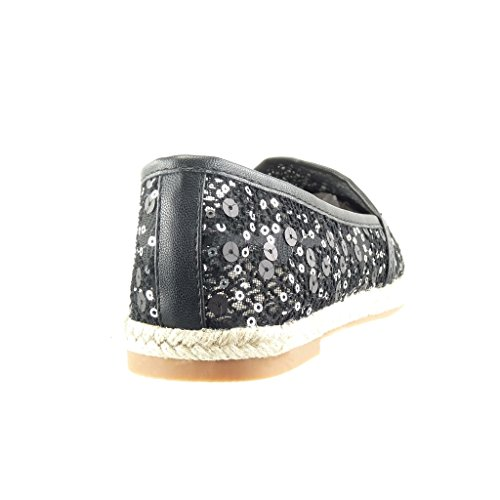 Angkorly - Chaussure Mode Espadrille Mocassin slip-on femme pailettes brillant corde Talon bloc 1.5 CM - Noir