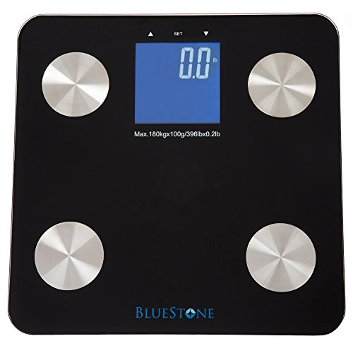 Digital Body Fat Bathroom Scale, Cordless Battery Operated Large LCD Display for Health and Fitness Tracking Scale by Bluestone- Black