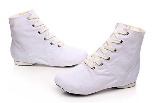 NLeahershoe Lace-up Canvas Dance Shoes Flat Jazz Boots For Practice, Suitable For Both Men and Women (12M/28, White)