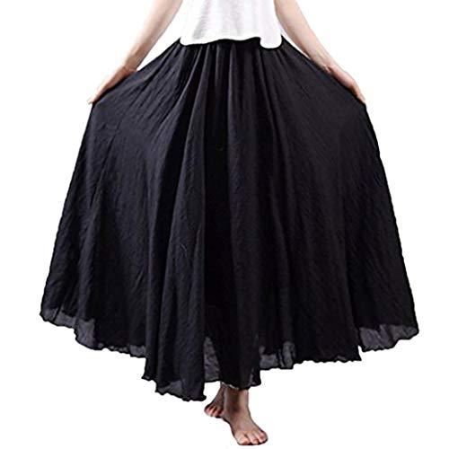 Sixcup Lin Coton Maxi Jupe Cheville Pliss Longue Pure Couleur Bohme Couche Double avec Ceinture lastiqu Taille Elastiquee Vintage Dress Black