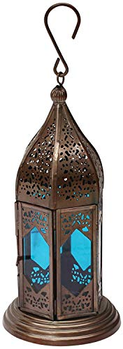 Etroves Moroccan Lantern 9.1 Inch - Handmade Hanging Tea Light Holder in Metal & Blue Glass Gift & Decor Items