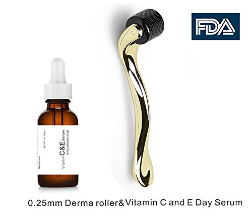 Clean Face And Neck (Dermapeel Vitamin C and E Day Serum with Hyaluronic Acid,Anti aging skin care product/anti wrinkle serum will fill fine lines,even skin tone and fade age spots-plus 0.25mm derma roller)