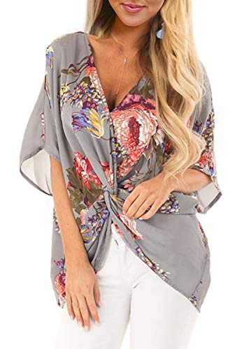 (ELF QUEEN Womens Floral Print Chiffon Shirt V-Neck Twist Casual Short Sleeve Blouses Tops Grey X-Large)