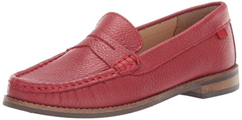 Marc Joseph New York Kid's Genuine Leather Boys/Girls Casual Comfort Slip On Moccasin Penny Loafer Driving Style, red Berry Grainy, 11.5 Little Kid M US Little Kid