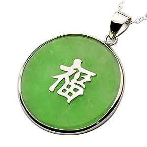 Colgante redondo con el símbolo de la buena suerte - Plata y jade verde - 45 cm