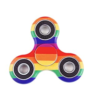 Fidget Spinner Prime (MANY COLORS AND DESIGNS) Toy Stress Reducer Fast Bearing - Perfect For ADD, ADHD, Anxiety, and Autism Adult Children (Rainbow)