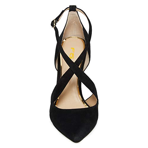 Sexy US Strap 15 Shoes FSJ Black Cross Women Size 4 Pumps Heels Stiletto Pointed Toe Cocktail High Sandals 5aqwU