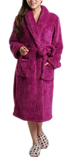 Robe Fleece Sleeved Long Girls (SexyTown Long Super Warm Plush Bathrobe Soft Microfiber Fleece Robe (14, Violet))
