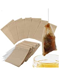 300PCS Tea Filter Bags, Disposable Paper Tea Bag with Drawstring Safe Strong Penetration Unbleached Paper for Loose Leaf Tea and Coffee(5x6CM))
