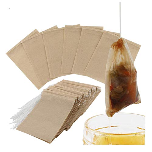 300PCS Tea Filter Bags, Disposable Paper Tea Bag with Drawstring Safe Strong Penetration Unbleached Paper for Loose Leaf Tea and Coffee by WINIT