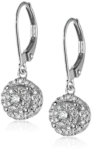 14k White Gold Diamond Cluster Circle Drop Earrings (2/5 cttw, H-I Color, I1-I2 Clarity) (Earrings White Diamond Gold Circle)