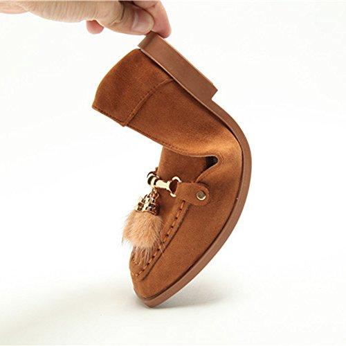 Btrada Dames Bont Suede Slip Op Instappers Schoenen Vierkante Neus Mocassins Schoenen Platte Ballet Bootschoenen Bruin