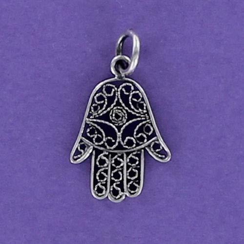 (Pendant Jewelry Making Hamsa Charm Sterling Silver for Bracelet Open Filigree Judaica Eye Hand Lacy)