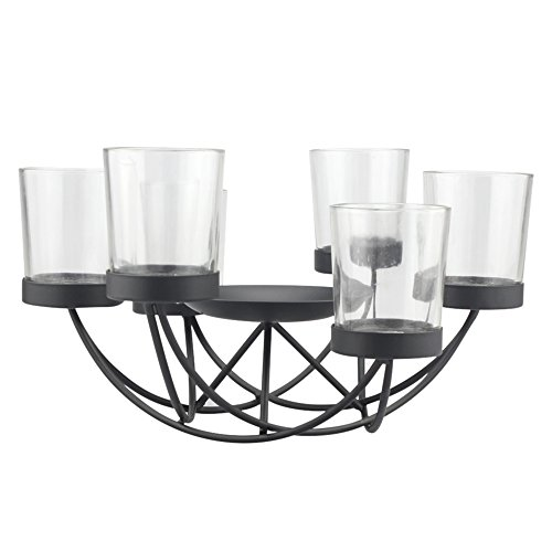 Cheap  Briarwood Black Metal Votive Candelabra with Pillar Candle Holder, Decorative Candle Centerpiece,..