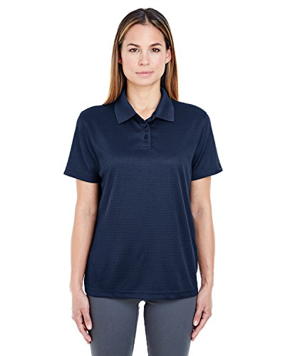 (UltraClub Cool & Dry Elite Jacquard Polo Golf Shirt Women's 8305L Navy Small)