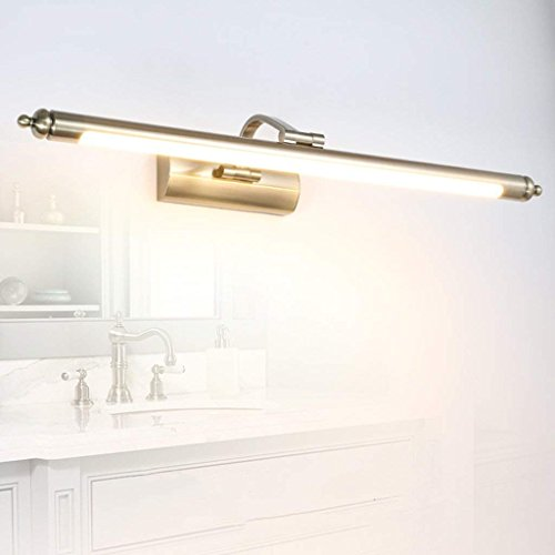 PLLP Bathroom Mirror Light,Led Mirror Front Lamp, Waterproof Bathroom Lens Headlight Antique Brass ,Household Bathroom Light,Warm Light-56cm