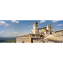 Tourists at a church Basilica of San Francisco Assisi Perugia Province Umbria Italy Poster Print (36 x 13)