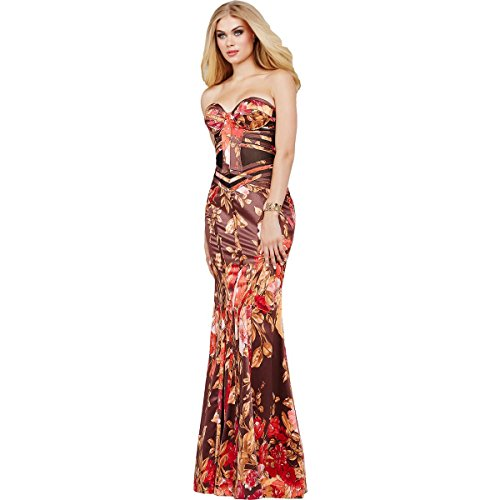 Jovani Satin Floral Print Formal Dress Red 0