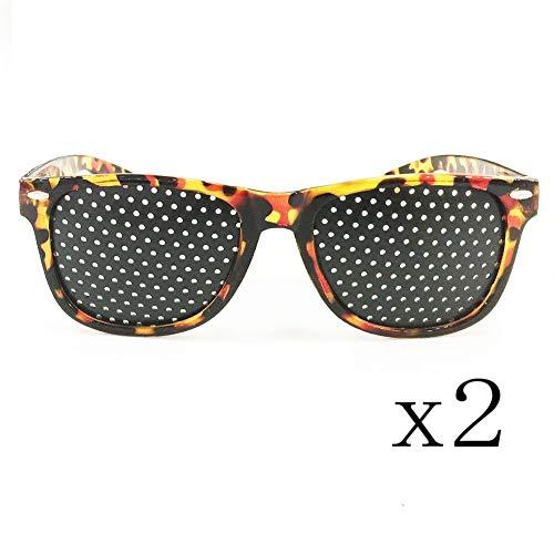 - 2 Pcs Black Pinhole Sunglasses, Pinhole Microhole Small Hole Sunglasses, Strabismus Correction Small Hole Glasses, Micro Hole Anti-Fatigue/Anti-Myopia/Astigmatism Goggles
