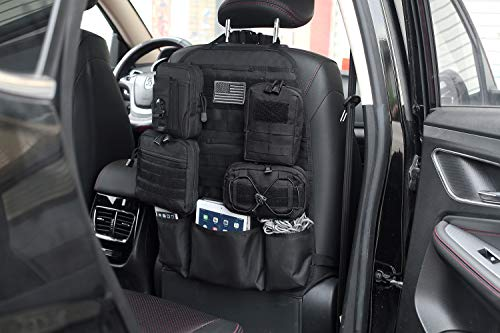 Durable Car Seat Back Organizer Cover Tactical Molle Vehicle Panel Protector US