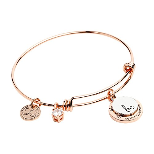 "Expandable Inspirational Bracelets ""Be Thankful, Brave, Happy, Kind, True, Strong"" - Perfect Gift for (14k Mom Charm Bracelet)"