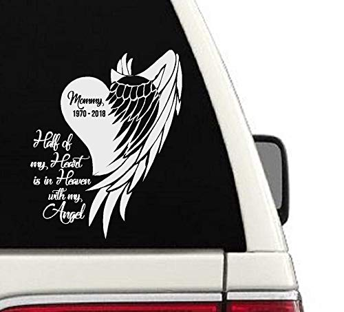 (CELYCASY in Loving Memory Car Decal Window Memorial Sticker Decal Personalized Name Half of My Heart is in Heaven with My Angel)