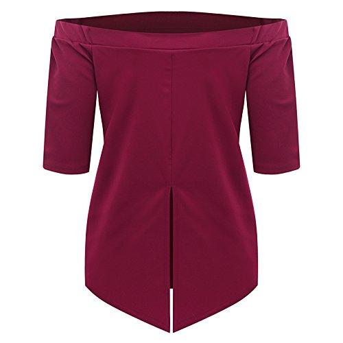 Casual Femme shirt Nu Blouse Sexy À Col Bateau Eté Acvip Epaule Rouge Vin T fwdnTvqwt