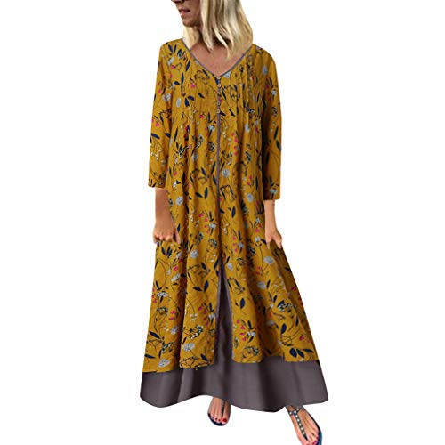 Halloween Drink Recipes Non Alcoholic (YAYUMI Women's Holiday Floral Maxi Dresses Print Casual Plus Size Ladies Beach Party)